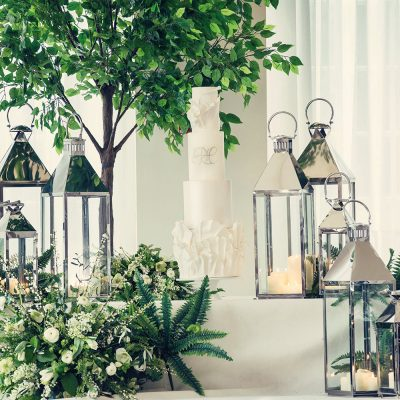 Chrome lanterns & Ficus Tree