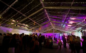 linier fairy light canopy in a clear ceiling marquee