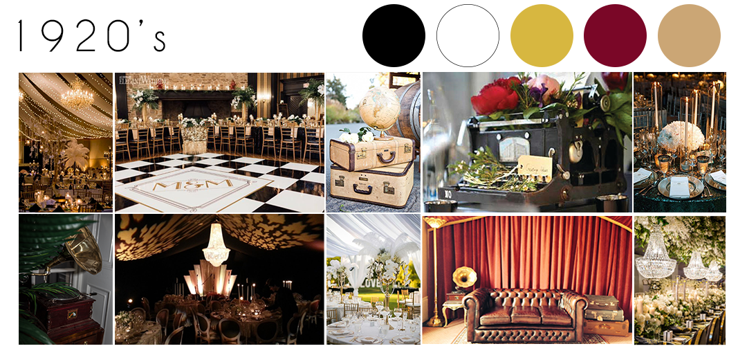 1920s wedding theme inspiration moodboard