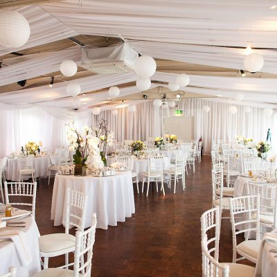 White wall and ceiling drapes