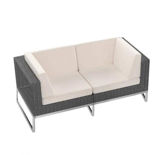 Rattan 2 seater sofa wedding furniture hire