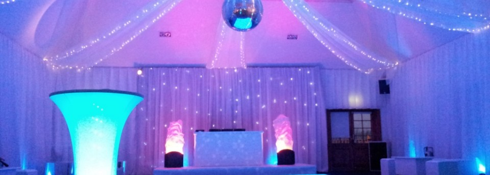 ceiling darts with fairy lights along the edges