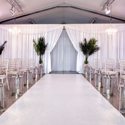 white wedding wall drapes
