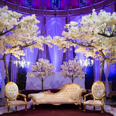 Blossom trees with chaise lounge and chandeliers