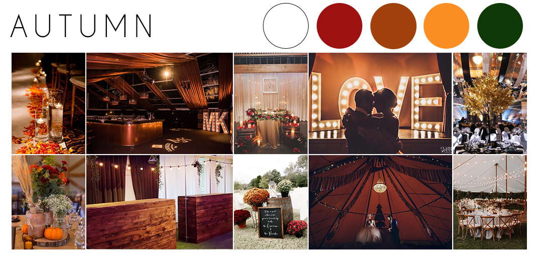 Autumn wedding theme inspiration moodboard
