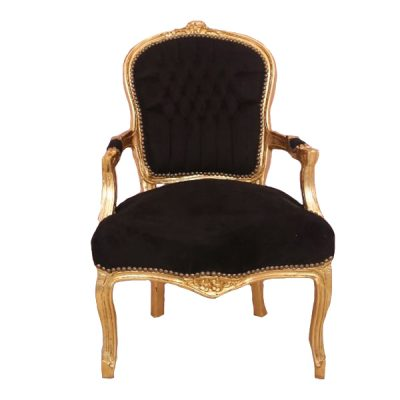 black and gold ornate chair wedding furniture hire