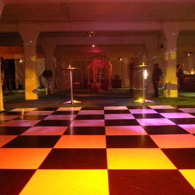 black and white dance floor wedding hire