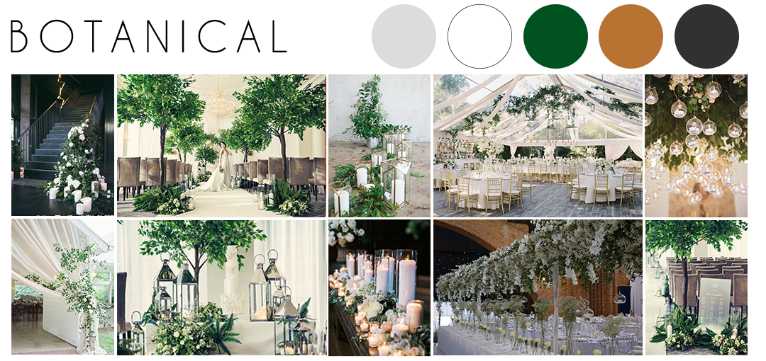 Botanical wedding theme inspiration moodboard