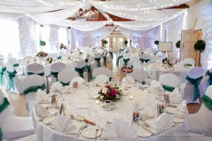 lycra chair covers with green bows