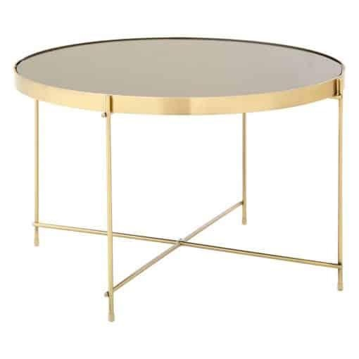 circular bronze mirror top coffee table wedding furniture hire