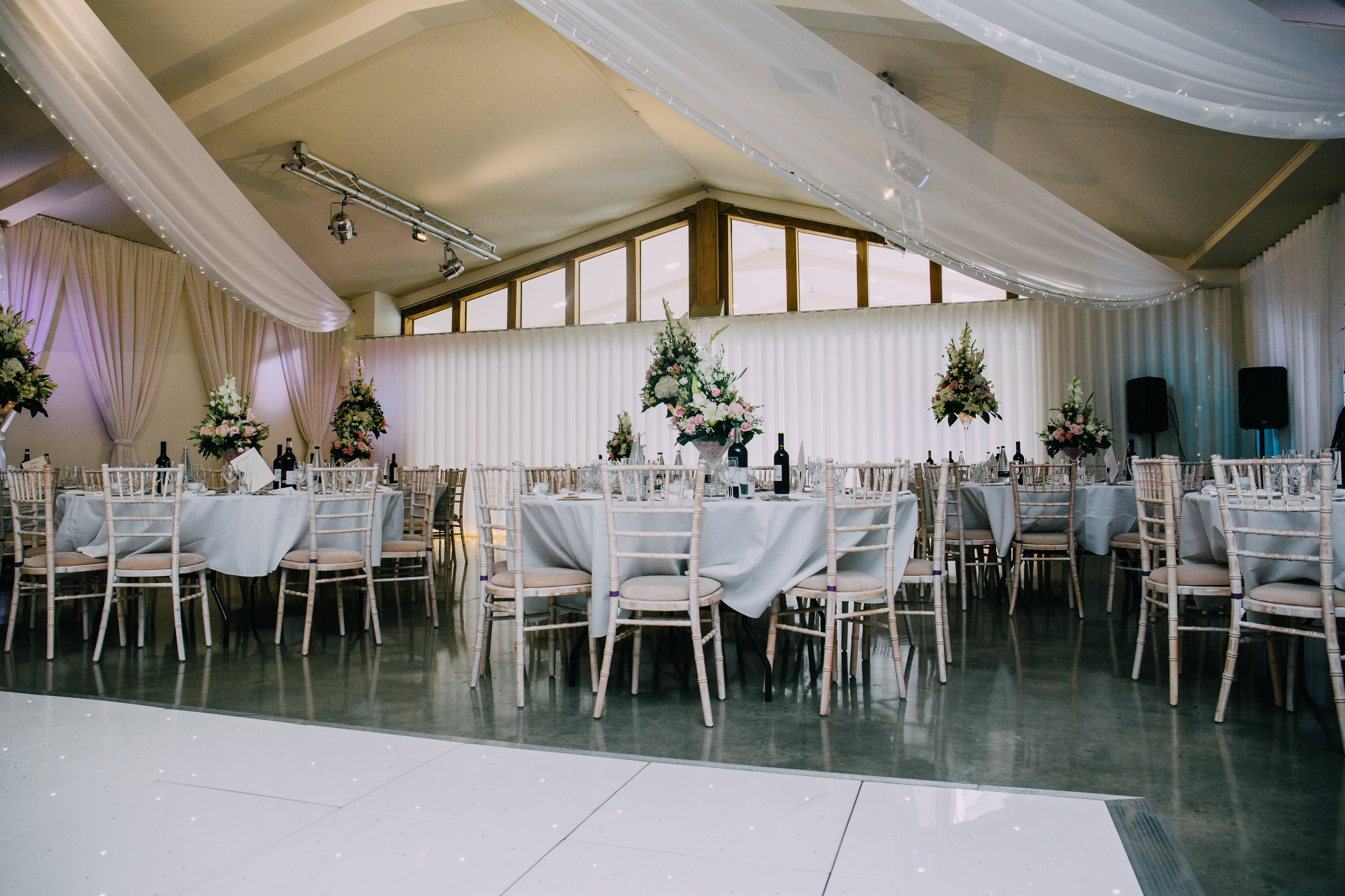 Ladywood Estate wedding decor with wall and ceiling drapes