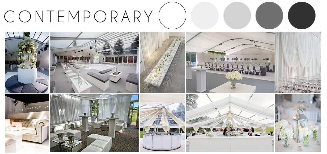 Contemporary wedding theme inspiration moodboard