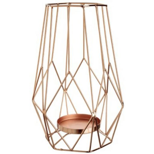 copper geometric candle holder wedding decor hire