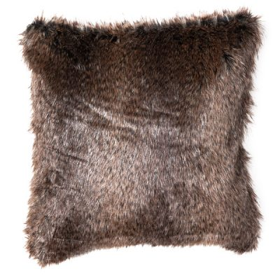 dark brown fur cushion wedding decor hire