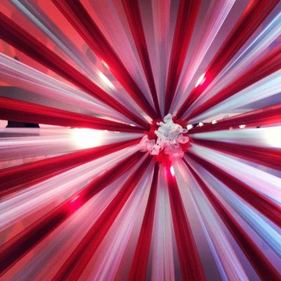 red and white circus big top wedding drape