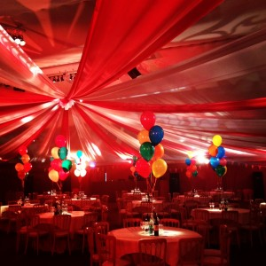 red & white voile ceiling darts, big top tent style drape
