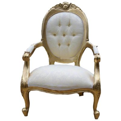 gold and cream ornate chair wedding hire