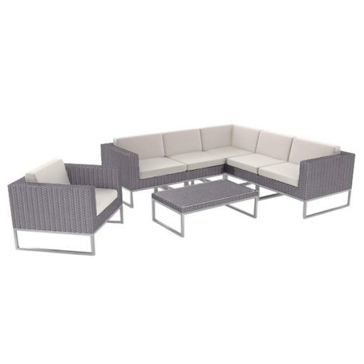 rattan sofa corner set wedding hire