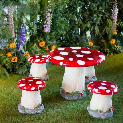 toad stool table and stool set wedding prop hire