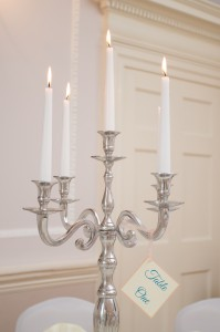 Chrome candelabra with tapered candles