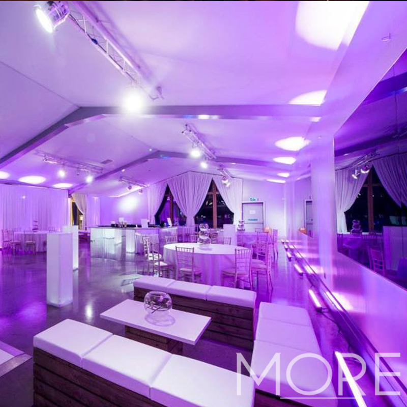 More Weddings purple up-lighting hire
