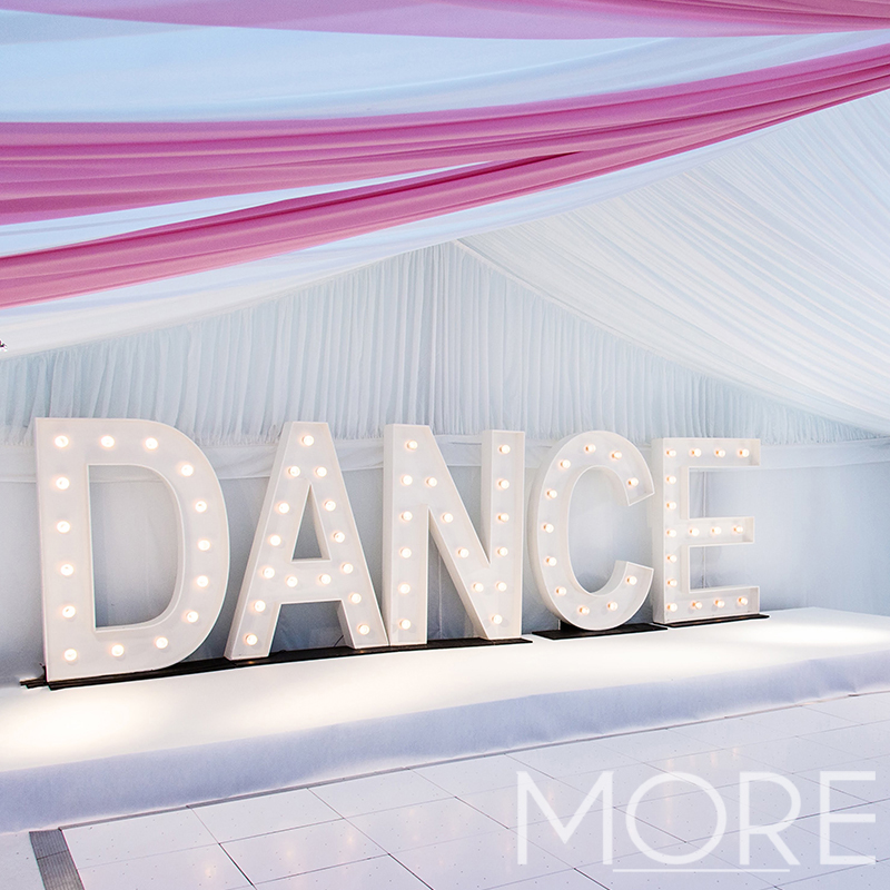 More Weddings Illuminated DANCE letter hire