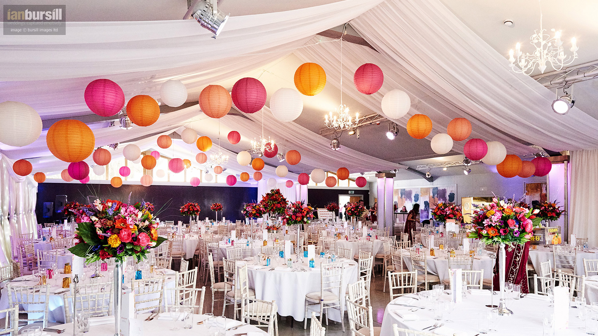 More Weddings ceiling drapes with hanging paper lanterns