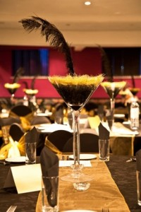 50 cm Martini Glass with black water pearls