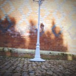 white lamp post