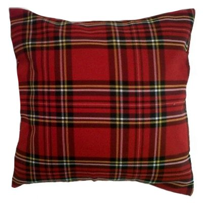 red tartan cushion wedding decor hire