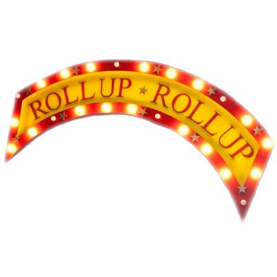 roll up sign hire circus wedding theme