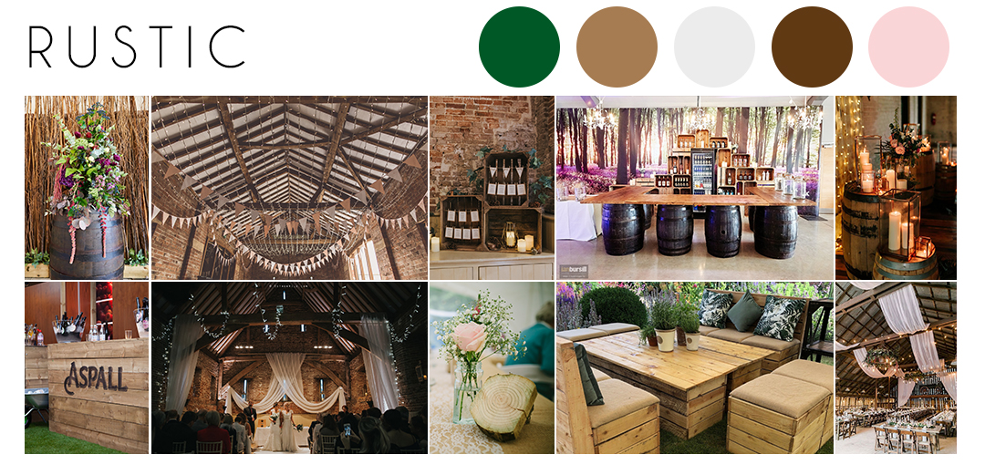 Rustic wedding theme inspiration moodboard