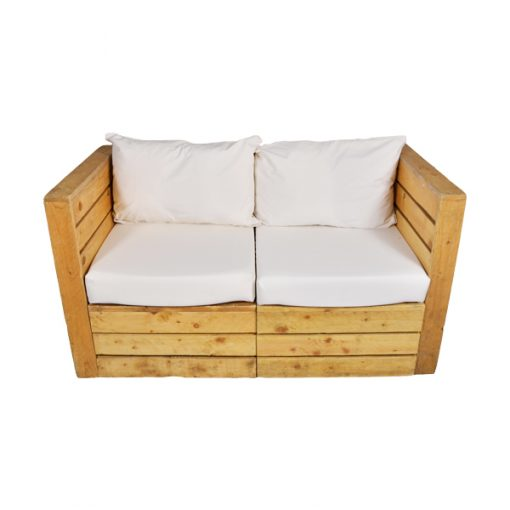 pallet 2 seater sofa wedding hire