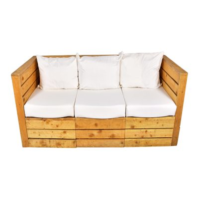 pallet 3 seater sofa wedding hire