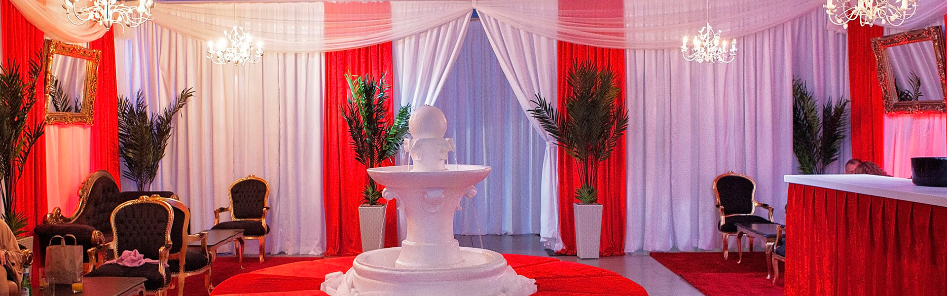 More Weddings white and red wall drapes