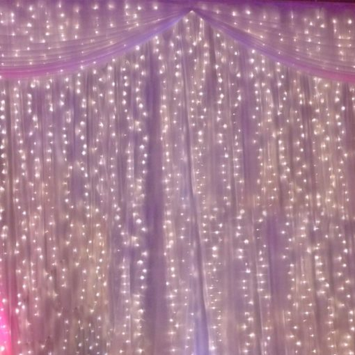 warm white fairy light curtain wedding hire