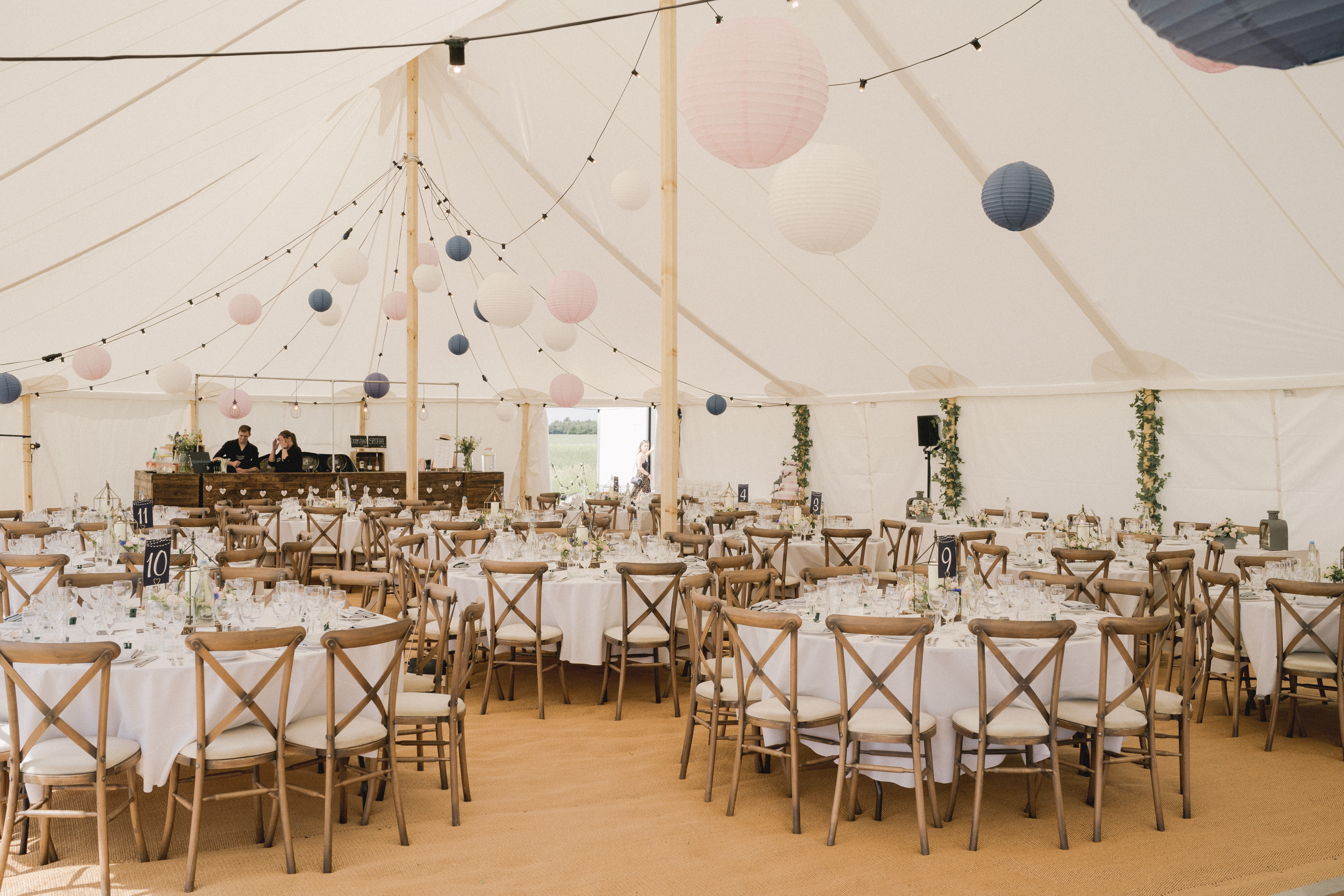 Marquee wedding decor hire with paper lantern ceiling installation