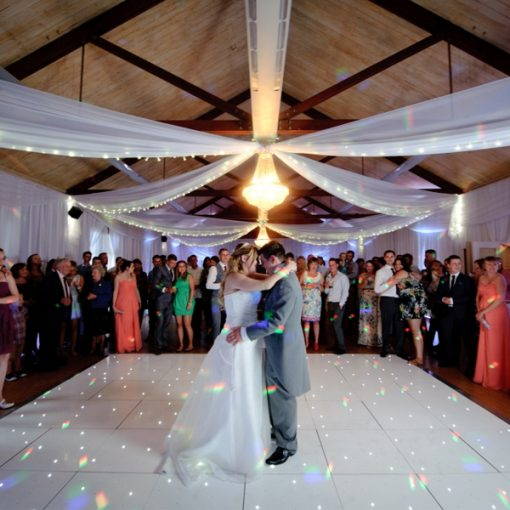 white LED dancefloor wedding hire