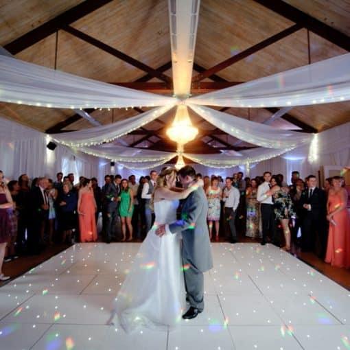 white LED dancefloor wedding hire