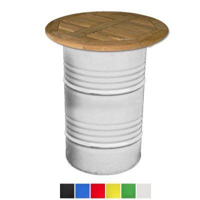 oil drum table with wooden top wedding hire