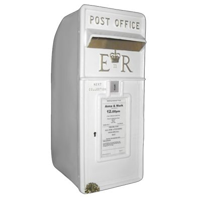white post box hire wedding decor