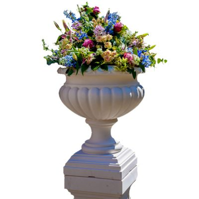 white urn prop hire wedding decor