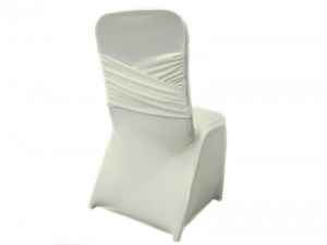 white lycra chair cover with rippled back