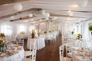 linear horizontal style voile ceiling swags