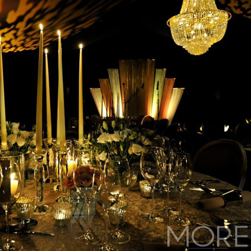Empire Crystal Chandelier and art deco backdrop hire