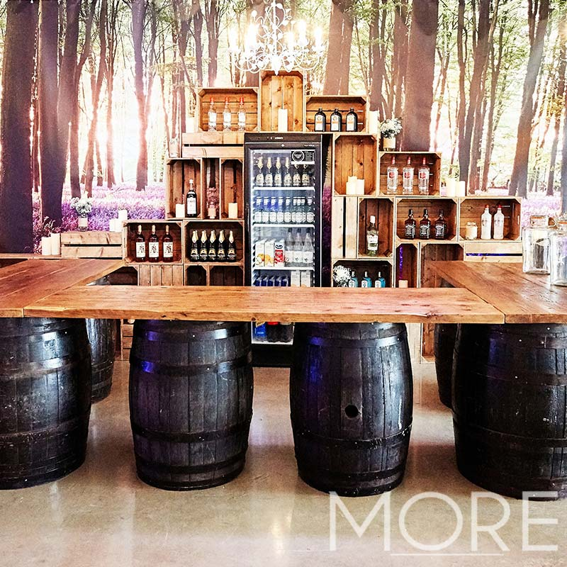 More Weddings rustic barrel bar wedding hire