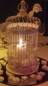 Bird Cage with mirror plate and church candle