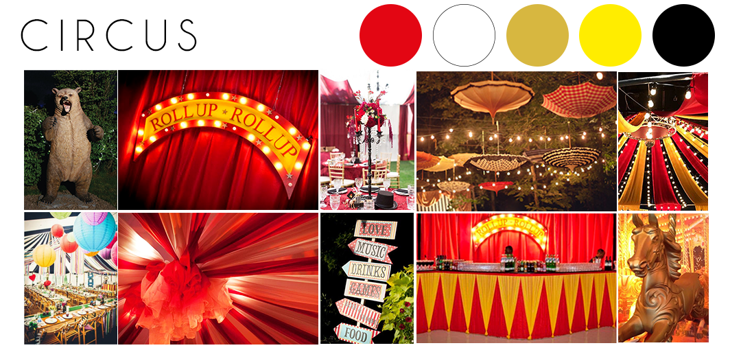 Circus wedding theme inspiration moodboard