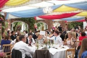 colourful wedding drapes