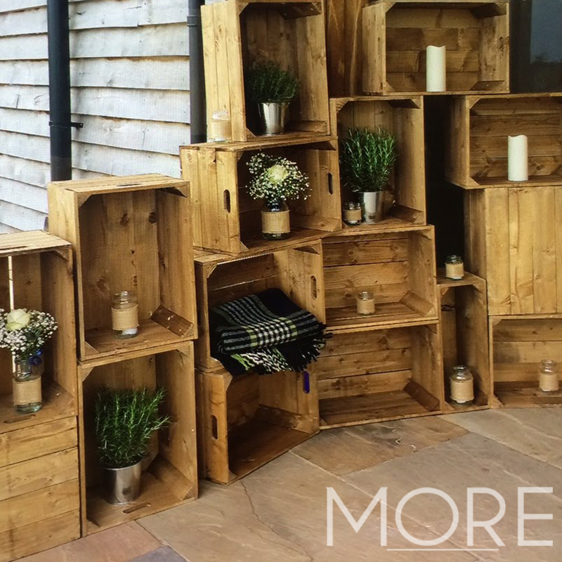 More Weddings rustic decor hire apple crates